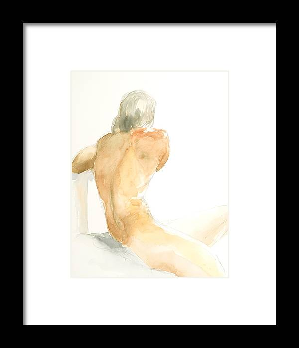 Nude Male Figure Framed Print featuring the painting Nude Series by Eugenia Picado