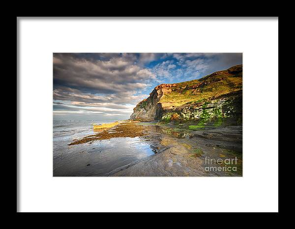Saltwick Bay Framed Print featuring the photograph Saltwick Bay by Smart Aviation