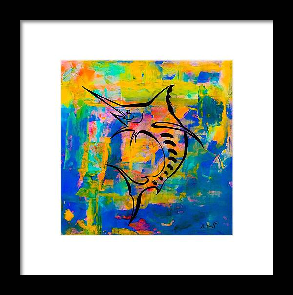 Blue Marlin Framed Print featuring the painting Salty Marlin by Barry Knauff