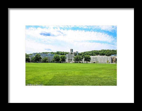 This Is A Photo Of The West Point Chapel On The Hill Behind The Dinning Faculty And The Plain Framed Print featuring the photograph West Point Military Academy by William Rogers