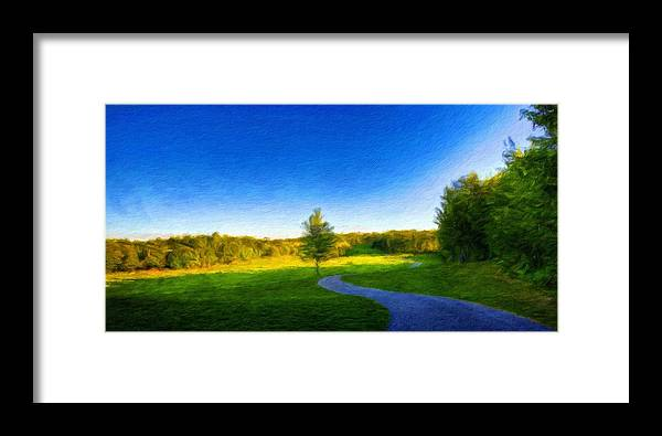 Landscape Framed Print featuring the painting Nature Oil Painting Landscape Images by World Map