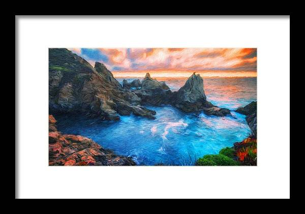 Landscape Framed Print featuring the painting Landscape Oil Painting Nature by World Map