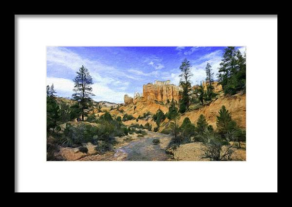 Landscape Framed Print featuring the painting Landscape Painted by World Map