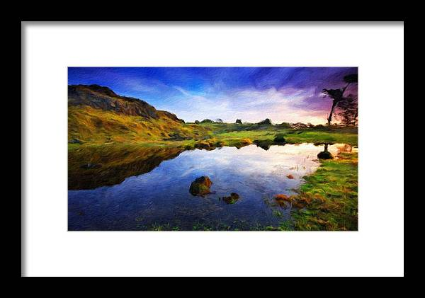 Landscape Framed Print featuring the painting Landscape Pictures Nature by World Map