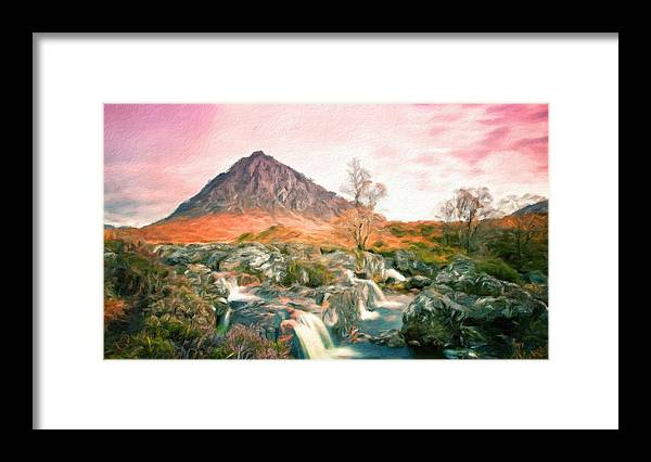 Landscape Framed Print featuring the painting Oil Painting Landscape Pictures by World Map
