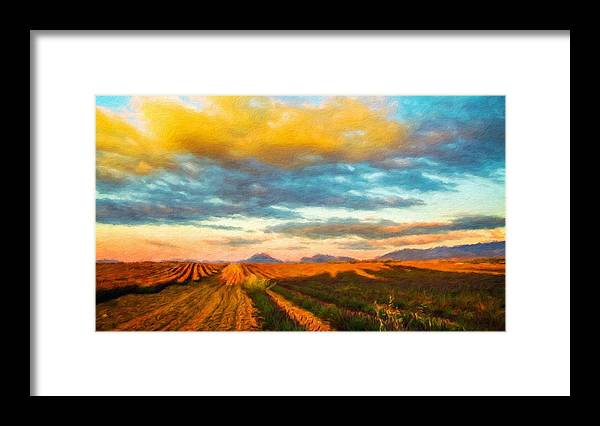 Landscape Framed Print featuring the painting Landscape Drawing Nature by World Map