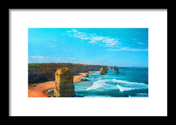 Landscape Framed Print featuring the painting Nature Landscape Oil by World Map