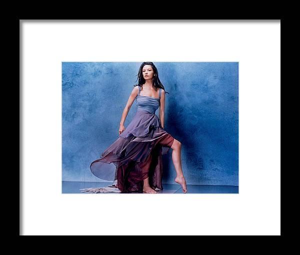 Celebrity Catherine Zeta Jones Framed Print featuring the digital art 1576 Celebrity Catherine Zeta Jones by Mery Moon