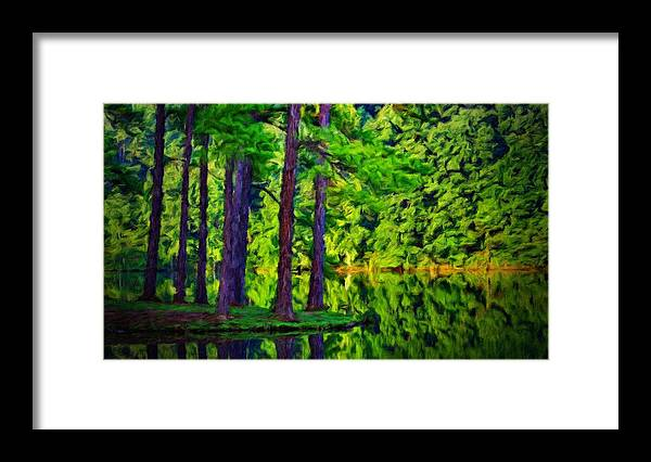 Landscape Framed Print featuring the painting Nature Oil Painting Landscape by World Map