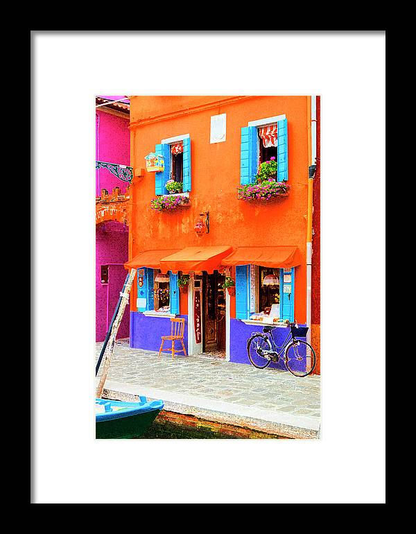 Burano Framed Print featuring the photograph Burano Anisland Of Multi Colored Homes On Canals North Of Venice Italy by Bruce Beck