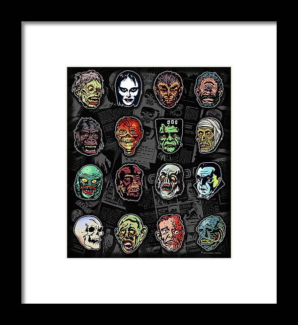 Monster Masks Framed Print featuring the digital art 16 Horror Movie Monsters Vintage Style Classic Horror Movies by Scott Jackson