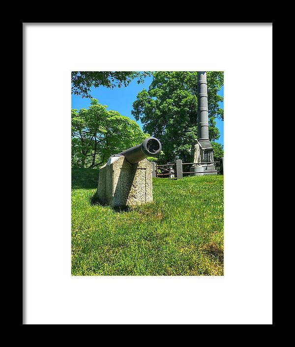 This Is A Cannon On Display Near The Revolutionary War Monument At The Sleepy Hollow Cemetery Framed Print featuring the photograph Cannon by William Rogers