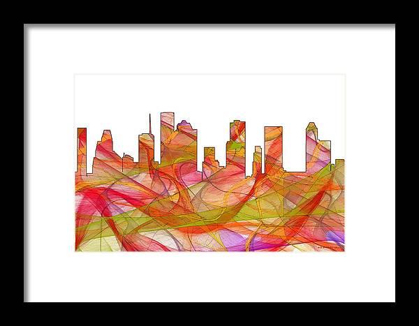 Houston Texas Skylineskyline Framed Print featuring the digital art Houston Texas Skyline by Marlene Watson