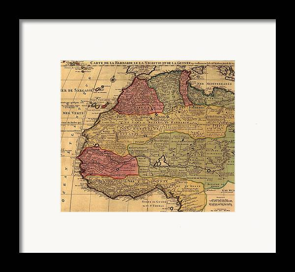 History Framed Print featuring the photograph 1742 French Map Of Northwest Africa by Everett
