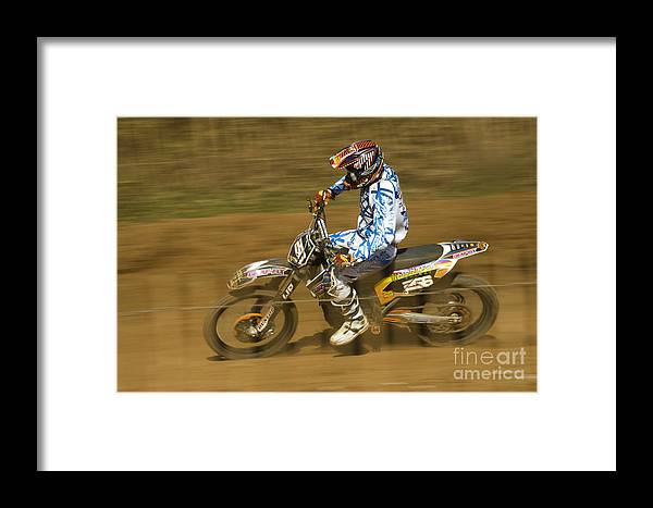 Bike Framed Print featuring the photograph Motocross by Angel Ciesniarska
