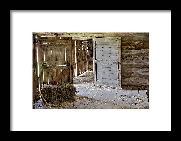 Barn Interior Framed Print featuring the photograph 1800's Belgian Hand Hewn Barn Interior by Nikki Vig