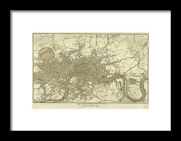 1800s London Map Sepia London England Framed Print By Toby Mcguire