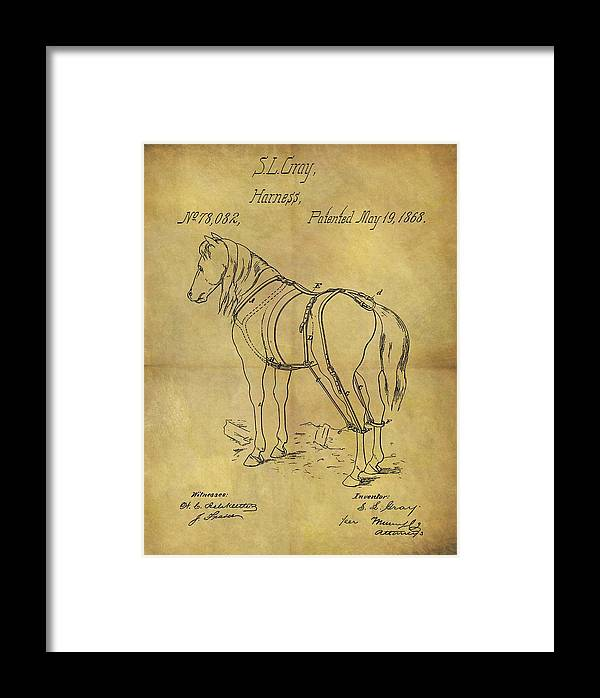 1868 Horse Harness Patent Framed Print featuring the drawing 1868 Horse Harness Patent by Dan Sproul