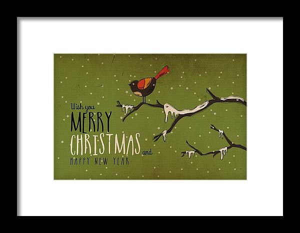 Decoration; Ornate; Abstract; Design; Illustration; Art; Creative; Decor; Vector; Grunge; Vintage; Watercolor Painting; Print; Poster; Christmas; Holiday; Snow; Traval Framed Print featuring the digital art Christmas Greetings by Don Kuing
