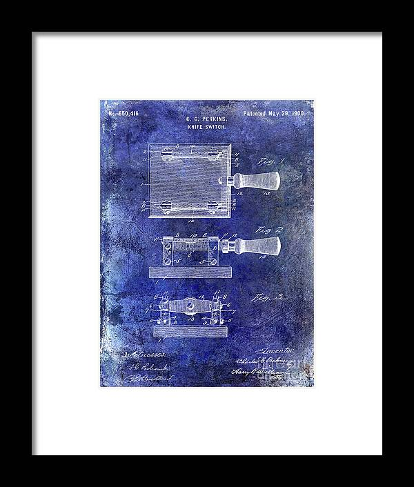 1900 Knife Switch Patent Framed Print featuring the photograph 1900 Knife Switch Patent Blue by Jon Neidert