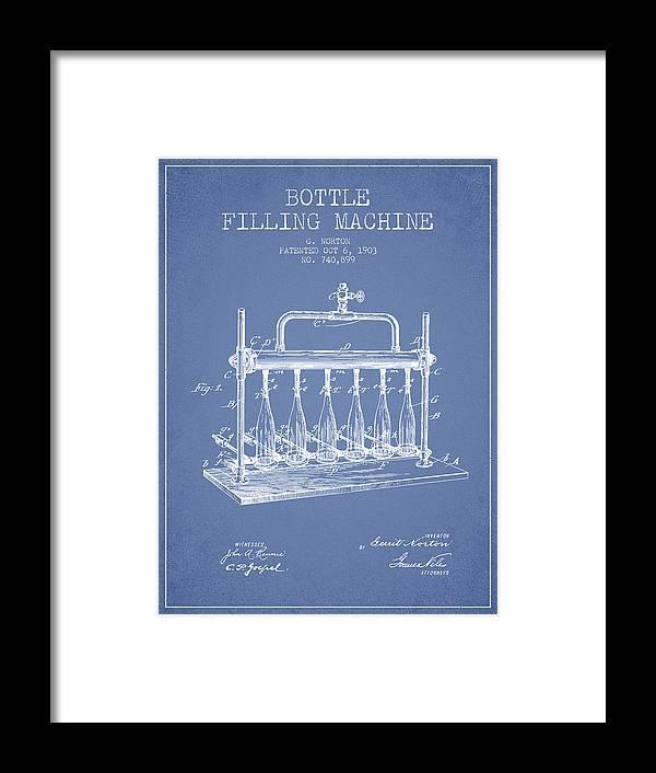 Bottle Machine Framed Print featuring the digital art 1903 Bottle Filling Machine Patent - Light Blue by Aged Pixel