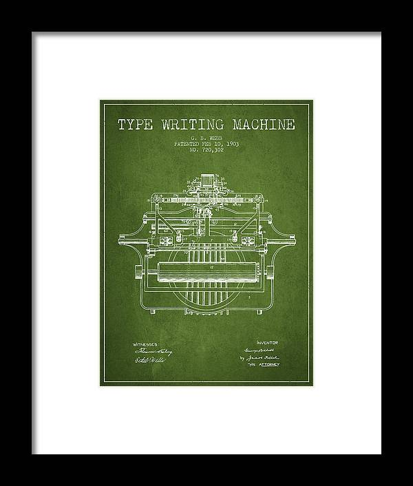 Typewriter Framed Print featuring the digital art 1903 Type Writing Machine Patent - Green by Aged Pixel