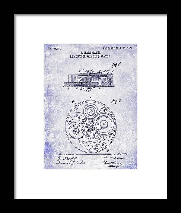 Watch Framed Print featuring the photograph 1908 Pocket Watch Patent Blueprint by Jon Neidert