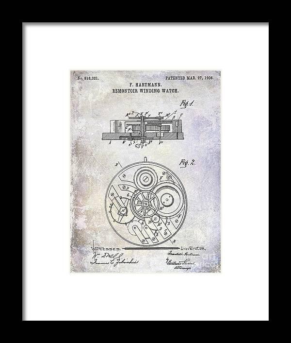 Watch Framed Print featuring the photograph 1908 Pocket Watch Patent by Jon Neidert