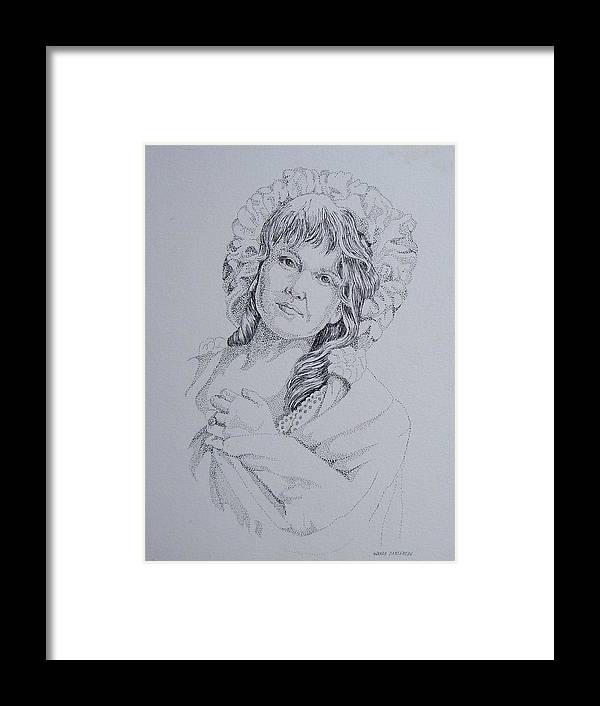 A Historic Piece Using The Pointillist Style Framed Print featuring the drawing 1910 Lady by Wanda Dansereau