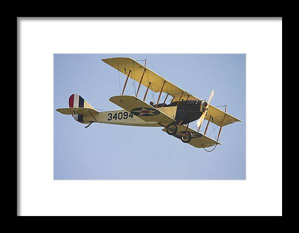 1917 Framed Print featuring the photograph 1917 Curtiss Jn-4d Jenny Flying Canvas Photo Poster Print by Keith Webber Jr