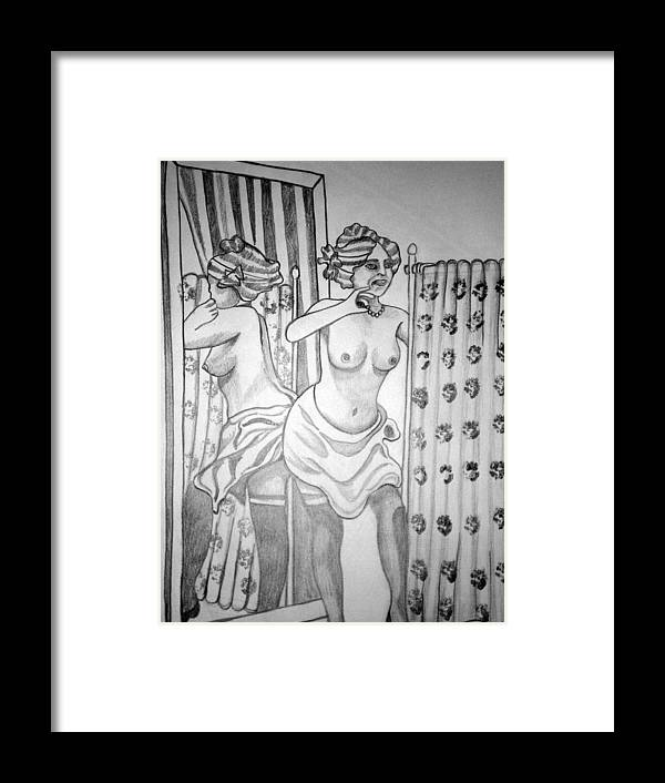 Deco Framed Print featuring the drawing 1920s Women Series 6 by Tammera Malicki-Wong