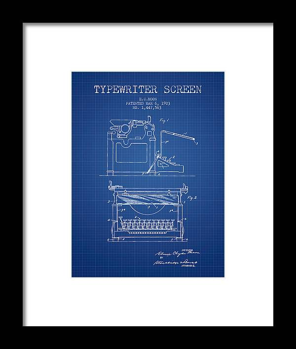 1923 typewriter screen patent blueprint framed print by aged pixel typewriter framed print featuring the digital art 1923 typewriter screen patent blueprint by aged pixel malvernweather Images