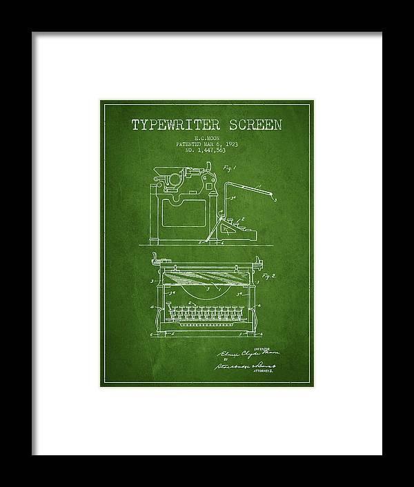 Typewriter Framed Print featuring the digital art 1923 Typewriter Screen Patent - Green by Aged Pixel