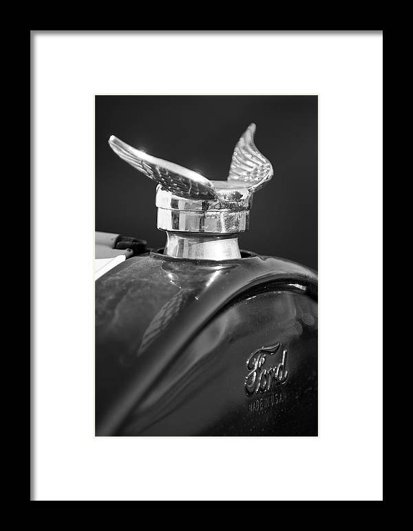 1925 Ford Model T Framed Print featuring the photograph 1925 Ford Model T Hood Ornament 2 by Jill Reger