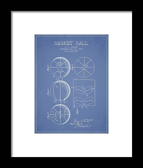 Basketball Framed Print featuring the digital art 1929 Basket Ball Patent - Light Blue 1929 by Aged Pixel