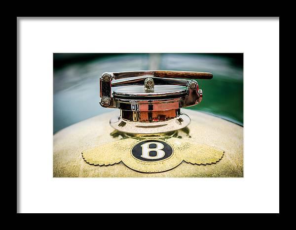 1929 Bentley 4.5-litre Open Tourer Framed Print featuring the photograph 1929 Bentley 4.5-litre Open Tourer Hood Ornament by Jill Reger