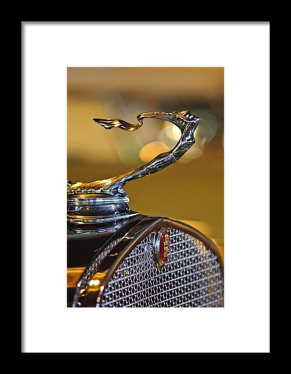 1930 Cadillac V-16 Roadster Framed Print featuring the photograph 1930 Cadillac Roadster Hood Ornament by Jill Reger