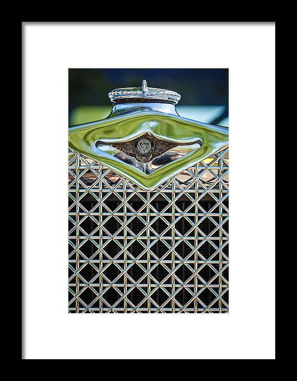 1930 Dodge Grille Emblem Framed Print featuring the photograph 1930 Db Dodge Brothers Hood Ornament And Grille by Jill Reger