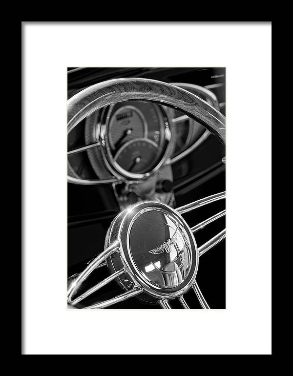 1932 Ford Framed Print featuring the photograph 1932 Ford Hot Rod Steering Wheel 4 by Jill Reger