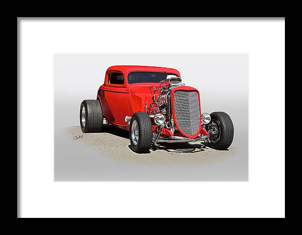 Auto Framed Print featuring the photograph 1934 Ford 'mean And Nasty' Coupe by Dave Koontz