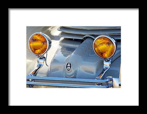 Car Framed Print featuring the photograph 1936 Cord Phaeton Headlights by Jill Reger