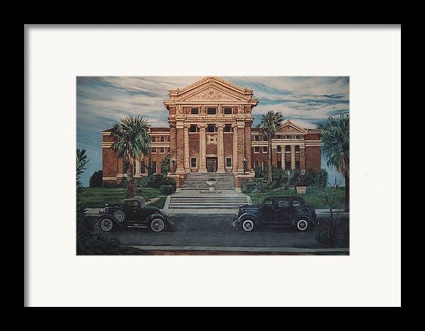 Architecture Framed Print featuring the painting 1936 Era Nueces County Courthouse by Diann Baggett