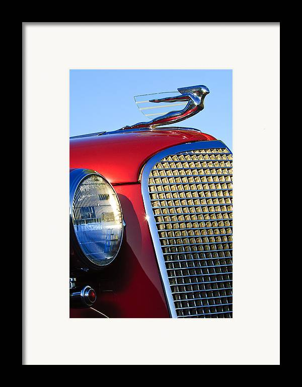 1937 Cadillac V8 Framed Print featuring the photograph 1937 Cadillac V8 Hood Ornament 2 by Jill Reger
