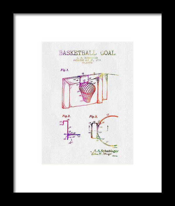 Basketball Framed Print featuring the digital art 1938 Basketball Goal Patent - Color by Aged Pixel