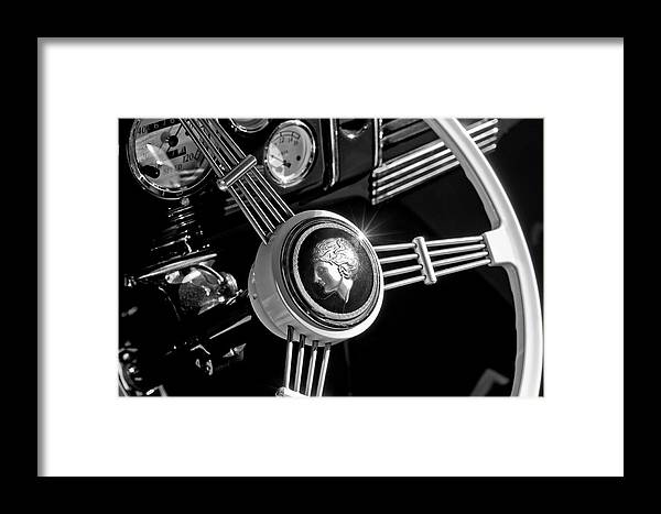 1939 Ford Standard Woody Framed Print featuring the photograph 1939 Ford Standard Woody Steering Wheel 2 by Jill Reger