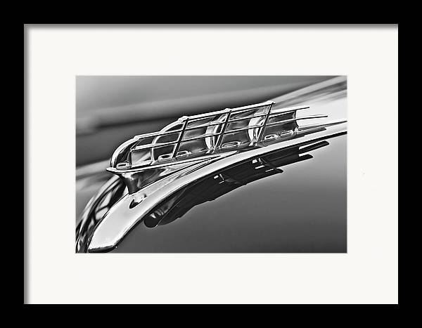1949 Plymouth Framed Print featuring the photograph 1949 Plymouth Hood Ornament 2 by Jill Reger