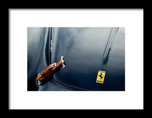 1950 Ferrari Framed Print featuring the photograph 1950 Ferrari Hood Emblem by Jill Reger