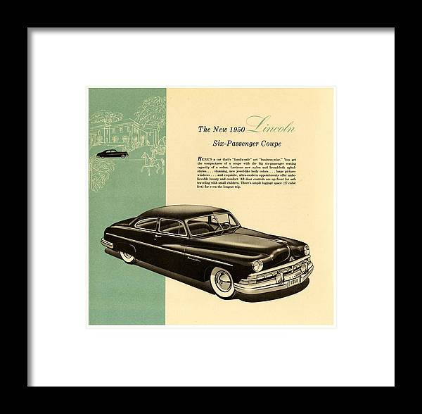 1950 Lincoln 6 Passenger Coupe Framed Print featuring the drawing 1950 Lincoln 6 Passenger Coupe by Allen Beilschmidt