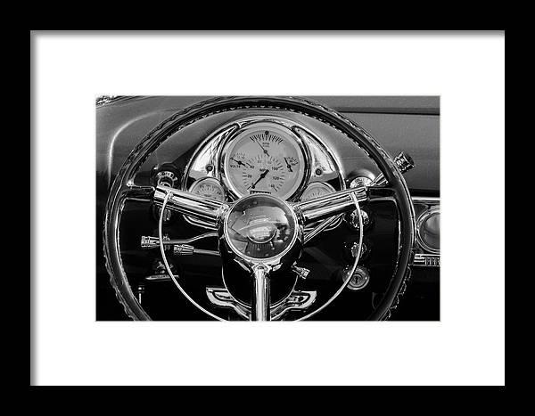 1950 Oldsmobile Rocket 88 Framed Print featuring the photograph 1950 Oldsmobile Rocket 88 Steering Wheel 4 by Jill Reger