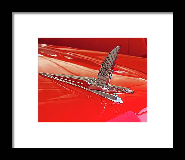 1954 Ford Crestline Framed Print featuring the photograph 1954 Ford Cresline Sunliner Hood Ornament 2 by Jill Reger